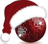 Christmas Disco Ball With Santa Hat