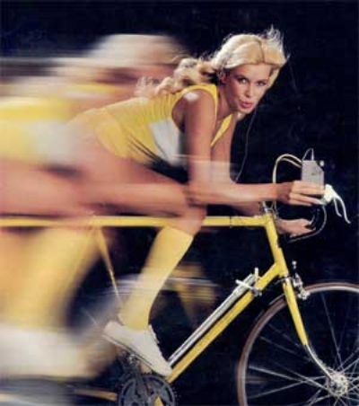 Girl On Bike With Walkman